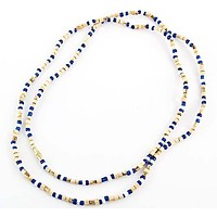 """3mm Tulasiwood With Blue & White Fancy Neck Beads - 32""""L"""