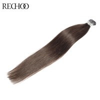 Rechoo Pre-bonded I-tip Hair Extensions 100% Brazilian Human Hair Keratin Fusion Hair Extensions #2 color Available 1g/strand