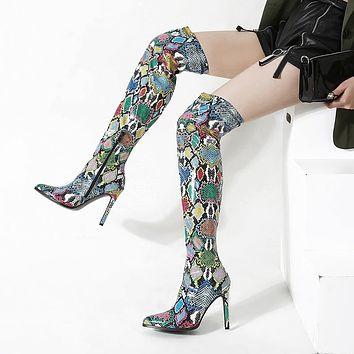 Pointed Toe Color Snake Pattern High Heel Thigh High Boots