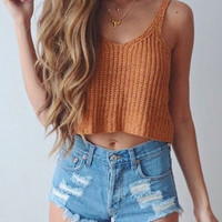 LOOSE KNIT CAMISOLE SHIRT TOP