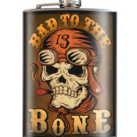 Trixie and Milo Bad to the Bone 8 oz. Stainless Steel Flask