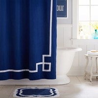 Emma Ribbon Trim Shower Curtain, Royal Navy
