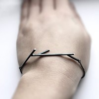Sticks 02. oxidized sterling silver twig bracelet