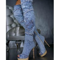 Womens Peep Toe Long Boots Blue Denim Boots For Women Thin High Heel Womens Thigh High Boots Open Toe Woman Over The Knee Boots