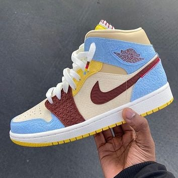 Nike Air Jordan 1 Mid Maison Chateau Rouge Men's and Women's Sneakers Shoes