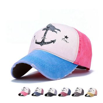 Korean Style Spring Fall Couple Hat Mens Womens Pirate Ship Anchors Hip Hop Snapback Caps Outdoor Golf Visor Hat Cotton 6 Colors