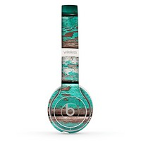 The Chipped Teal Paint On Wood Skin Set for the Beats by Dre Solo 2 Wireless Headphones