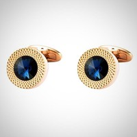 Metal chambered Crystal Cuff-links