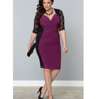 Plus Size Black & Orchid Purple Valentina Illusion Wiggle Dress