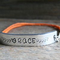 Friendship Bracelet ONE Grace Hand Stamped Quote With Lobster Clasp Hemp Cord Couples Bracelet Jewelry Custom Personalized