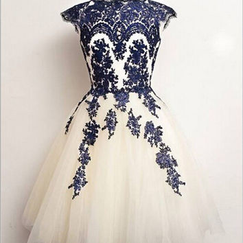 Short A-line Applique Tulle Prom Dresses/Homecoming Dress