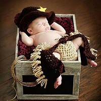 Baby born Photography Props Gentleman Cowboy Knitting Soft Baby Caps Hat Pants Set Baby Photography Accessories