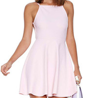 Light Pink Strap Open-Back A-Line Dress
