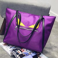 FENDI Newest Popular Women Nylon Large Capacity Handbag Shoulder Bag Purple