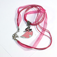 Pink Cinderella princess Charm Necklace - 16 inch necklace
