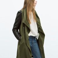 OVERCOAT WITH FAUX LEATHER SLEEVES New