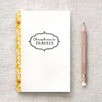 Travel Journal - Floral Journal, Personalized Journal Sketchbook Notebook - Graduation Gift, Stocking Stuffer - Two Sizes Available