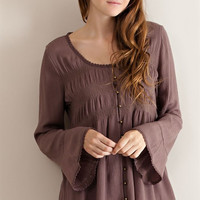 Button Down Baby Doll Blouse - Mocha