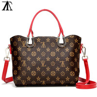 Women Shopping Leather Tote  Crossbody Satchel Shoulder Bag red