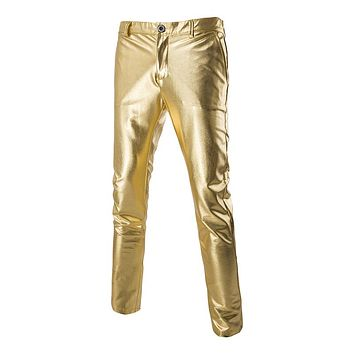Men's Slimming Pants Solid Casual Bright Face Bronzing Gold Trousers Pants