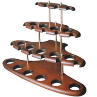 Wood Stand Rack Hold Case Display For 15 Smoking Pipe/Pipes