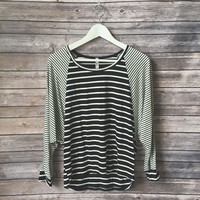 Black and White Mixed Striped Top