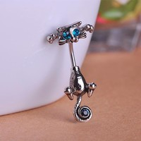Beautiful Cat Belly Ring