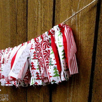 Christmas rag garland, rustic christmas, red, christmas trees, christmas mantle decoration, winter photo prop, swag, peppermints, cozy