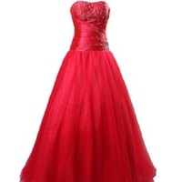 Winey Bridal® Red Ball Gown Bling Shiny Beading Corset Prom Dresses
