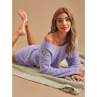 Solid V-neck Sweater & Shorts PJ Set