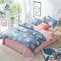 Cool ParkShin Bedding Set Flamingos Comforter Double Duvet Cover Striped Bed Sheet Elastic Bedspread Queen King Euro Linen BedclothesAT_93_12