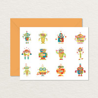 Robots A2 Printable Note Card / Thank You Card / Printable Stationery