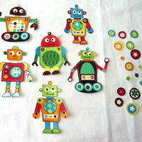 Robots Fabric Iron On Appliques Baby Shower Set of 6