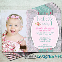Shabby chic birthday invitation, pink or purple first birthday, #224 Digital file