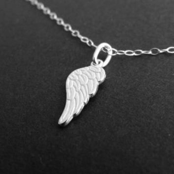 Angel wing Necklace in Sterling Silver, Memorial Remembrance Jewelry