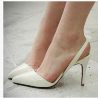 Sexy Point Toe Patent Leather High Heels Pumps Shoes Woman's Sandals Heels Shoes Wedding