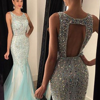 Mermaid Beading Prom Dress,Chiffon Prom Dresses,Evening Dresses