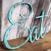 Rustic EAT sign shabby chic aqua wall hanging home decor photo prop cottage teal farmhouse primitive gift distressed aged style