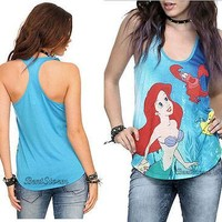 Licensed cool Disney The Little Mermaid ARIEL Sea Sebastian Racerback Tank Top Tee Shirt JRS.