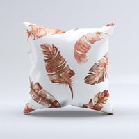 The Splattered Burnt Orange Feathers ink-Fuzed Decorative Throw Pillow