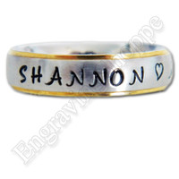 CUSTOM Couples Ring NAME RING Personalized Ring Hand Stamped Ring Wedding Band Promise Ring, Stainless Steel Ring, 6mm Gold Edge Silver Ring
