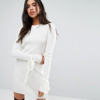 Boohoo Tie Cuff Rib Knit Dress at asos.com
