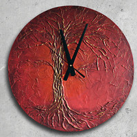 Large WALL CLOCK, Life of Tree paintig, Red wall clock, Red Tree painting, Unique clock, red clock, Valentines Day Gift for Him Her