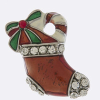 CHRISTMAS STOCKING ACCENT BROOCH