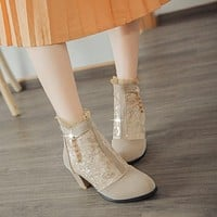 Back Zipper Rhinestone Lace Women Ankle Boots Chunky Heel Pumps 8853