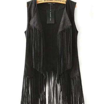 Fringed Collar Vest