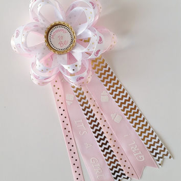 Pink and Gold It's A Girl Baby Shower Corsage, Shabby Chic Corsage Mommy to Be Pin, Grandma to Be Pin, Aunt to Be Pin