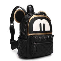 Casual Stylish Back To School Comfort On Sale College Hot Deal Rivet Small Size PU Leather Cartoons Backpack [6581506567]