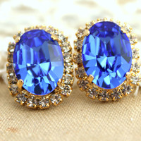 Blue Sapphire Tanzanite Crystal stud oval earring - 14k plated gold post earrings gemstone with real swarovski rhinestones.