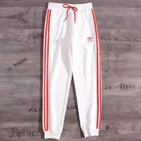 """ADIDAS"" Stripe Print Stretch Leggings Sweatpants Exercise Fitness Sport Pants Trousers G-YF-MLBKS"
